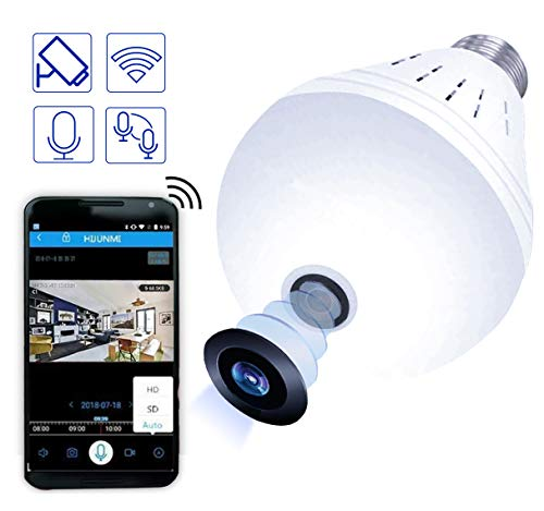 Light Bulb Camera, Full HD 1080P Smart Home Security Light Camera, Night Vision, Two Way Communication, Cell Phone App, Wireless IP Dog Camera for Baby/Pet/Nanny Monitor, for iPhone Android