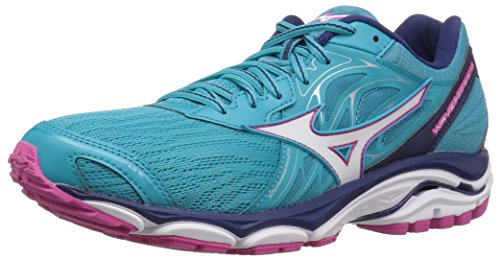 Mizuno Women's Wave Inspire 14 Running Shoe, Peacock Blue/Fuchsia Purple, 12 B US
