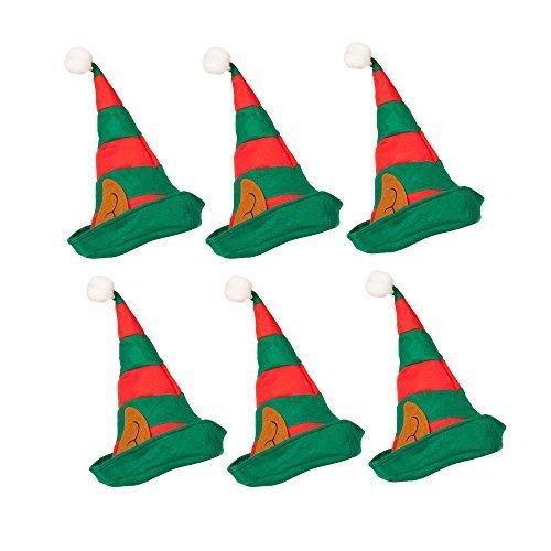 Robelli 6 Confezione di a Righe Elfo di Natale Cappelli con Orecchie
