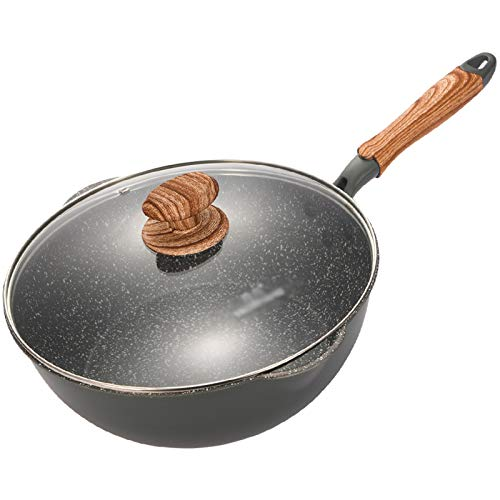 XXDTG Sartén Multifuncional Antiadherente De Piedra Maifan Sin Vapor De Aceite Wok Cocina De Inducción Horno Apto Para Lavavajillas