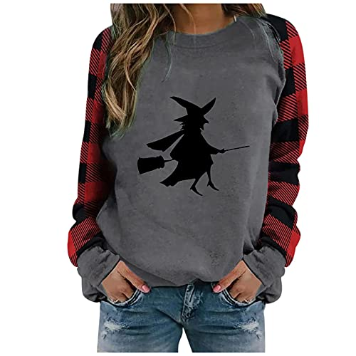 Halloween Costumes for Women Christmas Plaid Patchwork Crewneck Sweatshirts Long Sleeve Graphic Shirts Blouse Tops Black