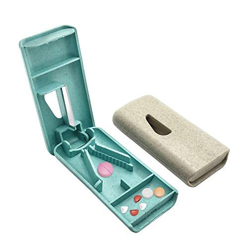 Pill Cutter Medicina Tableta Cortador Quarters Box Para Todas Las Formas Píldora Grande 2pcs