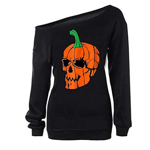 Meikosks Pumpkin Skull Print Tops Womens Off Shoulder Blouses Long Sleeve T Shirt Halloween Tunic Black