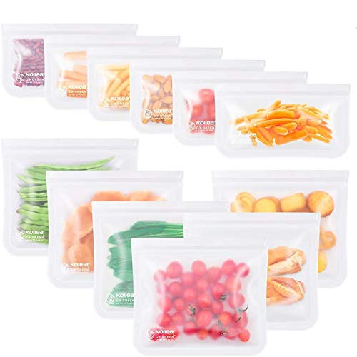 Kollea Bolsas de Silicona Reutilizables 12 Pack, Bolsas de conservación, Bolsas de Silicona Preservación de Alimento Hermética para Fruta Verduras Carne y sándwich, Ideal para Hogar Cocina y Viajes
