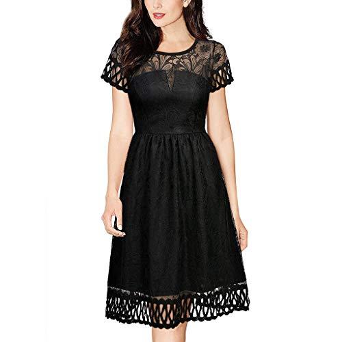 Winterkleider Elegant Lang Kleid, Malloom Damen Vintage retor Kleid Lace Kurzarm Hochzeit Cocktail Abend Party Blumenkleid Lang Kleider Ballkleid