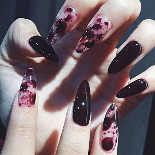 Sethexy 24 Stück Glänzend Stilett Falsche Nägel Schwarz&Tinte Vollständige Abdeckung Kunstdesign Scharf Künstliche Nägel Tipps für Frauen und Mädchen