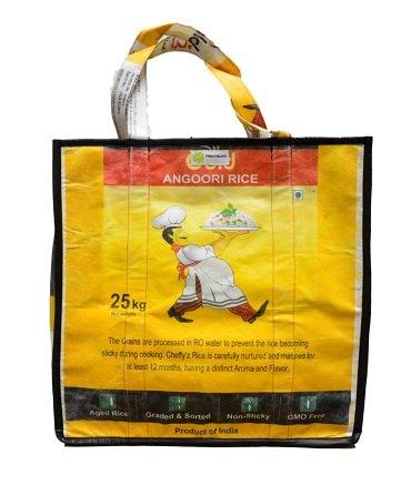 GROßE UPCYCLING EINKAUFS-Tasche Handmade IN Nepal | 100% FAIR-Trade | AUS RECYCELTEN REISSÄCKEN