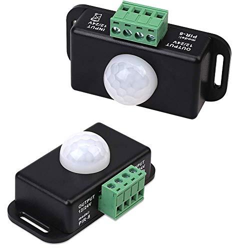 Infrarot-bewegungsmelder Pir-controller 12v 24v Led-erfassungsschalter Human Bewegungsmelder Mit Dc-kabeln Led-lichtleiste (round (mit Lichtsensor) Schwarz)