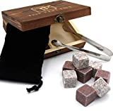 Whiskey Stone Gift Box set with 9 Premium Granite Stones (Won't Water Down Your Drink!), Wood Box, Velvet Carrying Bag and Tongs (Natural Red)