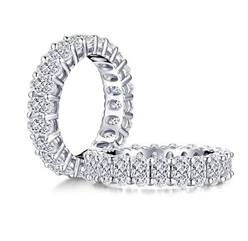 Damen-Ring Swarovski Zirkonia Sterling-Silber, Jewelry Zirkonia Versprechen Verlobungsring, Damen Ring Breit Silber Zirkonia (Silber, 56(17,8))