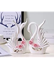 LuvBells™ Pair of Swan Figurines (23cm & 22cm Height) Home Decor Statues Bone China Material Decorative Sculpture Set of 2 Symbol of Love and Elegance White Color with