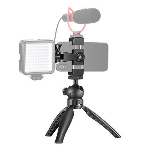 Neewer Treppiedi da Tavolo per Smartphone con Supporto Clip, Funziona con Luce LED & Microfono, Adatto a iPhone 7 8 X XS MAX 11 Pro Samsung per Vlog YouTube Filmmaker (SENZA Luce LED & Microfono)