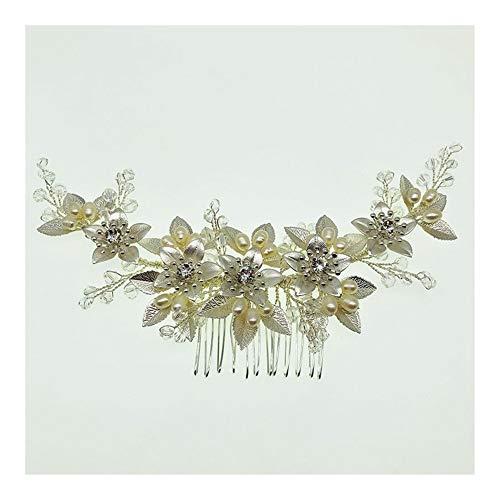 ASDAHSFGMN Accessoires Cheveux de mariée Coiffe Peigne Golden Leaf Mariage Accessoires de Cheveux Perles d'eau Douce Coiffe for Les Mariages (Color : Silver)
