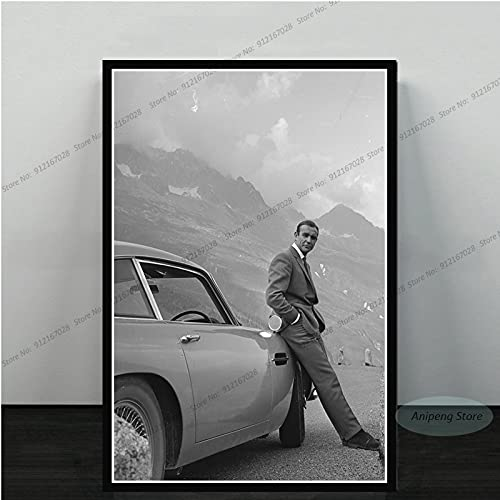 meishaonv Sean Connery Attore di Film James Bond 007 with Guns Poster Art Canvas Painting Picture for Living Room Home Decor A3235 50 × 70 CM Senza Cornice