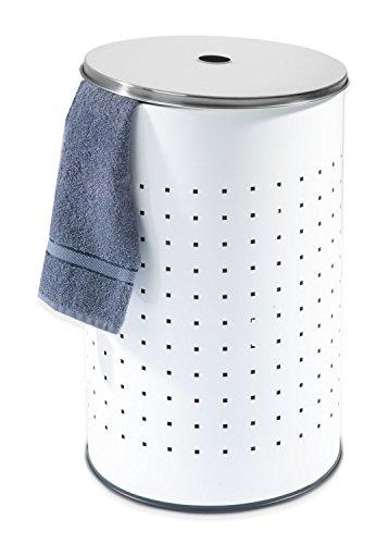 Wäschetonne Wäschesammler Wäschekorb | Edelstahl weiß | ca. 37 Liter | 54 cm hoch