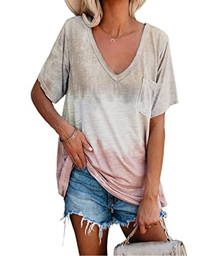 Camisa Mujer Cómodo Escote En V Profundo Sexy Color Degradado Bolsillos Decoración Mujer Camiseta Sin Mangas Casual Clásica Elasticidad Transpirable Mujer Top I-Khaki XL