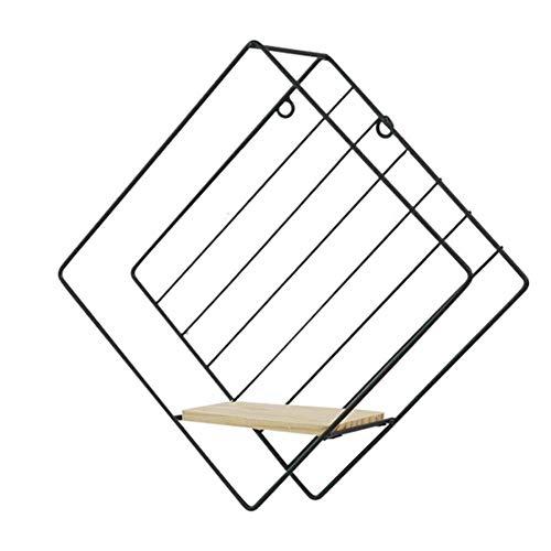 zyl Estante de Pared Estante de Especias Moderno de Madera y Metal Diseño Industrial Diseño en Forma de Diamante Estante de Pared Creativo Estante Decorativo para Sala de Estar de Oficina (Negro