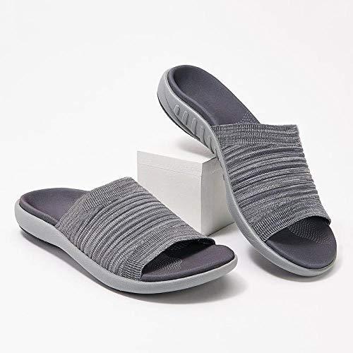 YYFF Zapatos de Playa y Piscina,Pantofole piatte da indossare sul pavimento,Moda Donna-Grigio_42,Sandalias de Punta Descubierta