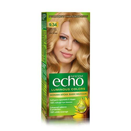 ECHO Permanent Kit Couleur des cheveux Aux extraits de tournesol et d'olive d'origine naturelle 60ml (9.34 blond clair miel)