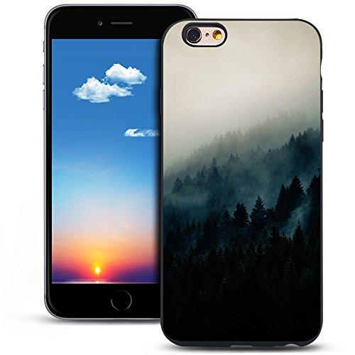 Mosoris Coque iPhone 6S Silicone, Etui iPhone 6 Noir Mode Peint Ultra-Thin Souple TPU Silicone Housse Bumper de Protection Antichoc Mat Coque pour iPhone 6 / 6S, Montagnes Profondes