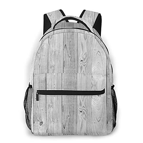 Mochila para adolescentes, hombres, mujeres, paquete de almacenamiento,Paneles viejos de madera blanca y gris, Mochila para portátil de viaje para estudiantes de escuela informal de negocios