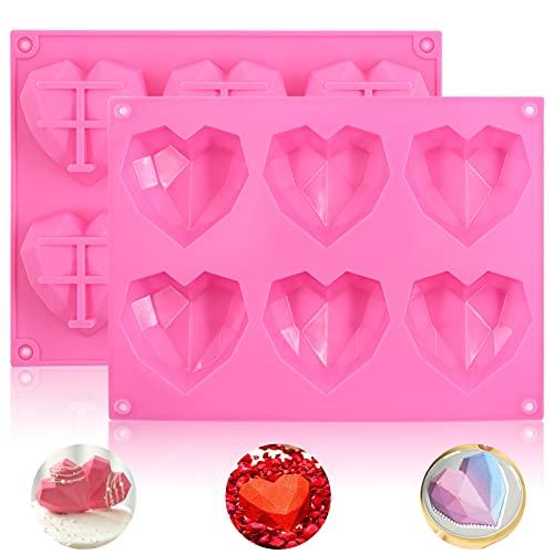 2 Stück Silikonform Herzform,Herz Kuchenform,Schokoladenformen,Diamant Herzform Kuchenform,3D Silikon Kuchenform Diamant Herzform,Silikon Backform Herz für Schokolade,Gelee Seife,Cupcake