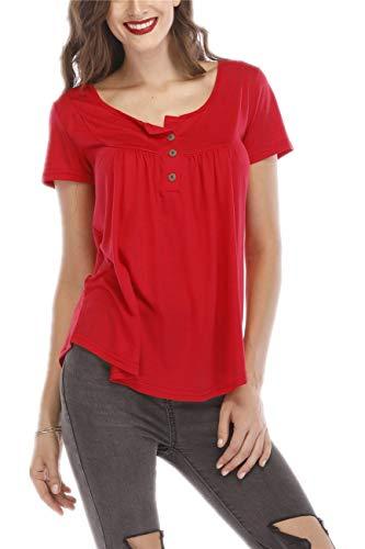 UMIPUBO Bluas de Mujer Camisa Algodón Blusa Mujer Elegante Manga Corta Camisa Suelta Mujer Casual Verano Shirts (Rojo, XXL)