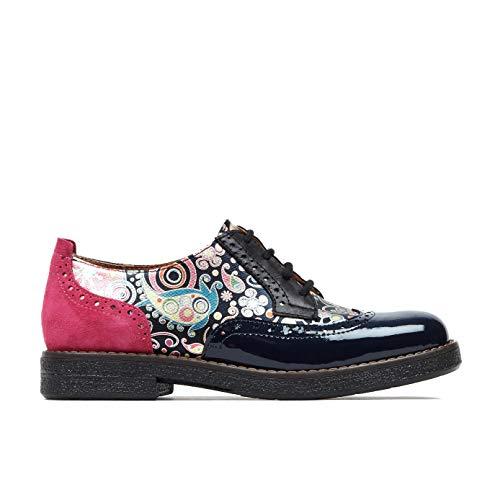 Zapato Embassy Artist, cordones Brogues zapatos de cuero italiano para las mujeres, color Azul, talla 42 EU