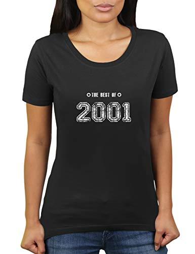 Geboren 2001 - Jahrgang Geburtstagsgeschenk - The Best of - Damen T-Shirt von KaterLikoli, Gr. 2XL, Deep Black