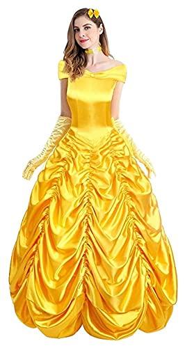 Seupeak Belleza para adultos y la bestia Bell Princess Disfraz Disfraz de fiesta de lujo Disfraz de fiesta COS Belle Princess fotografía fotografía carnaval Halloween traje