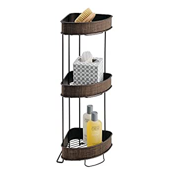 iDesign Twillo Metal Wire Corner Standing Shower Caddy 3-Tier Bath Shelf Baskets for Towels Soap Shampoo Lotion Accessories Bronze