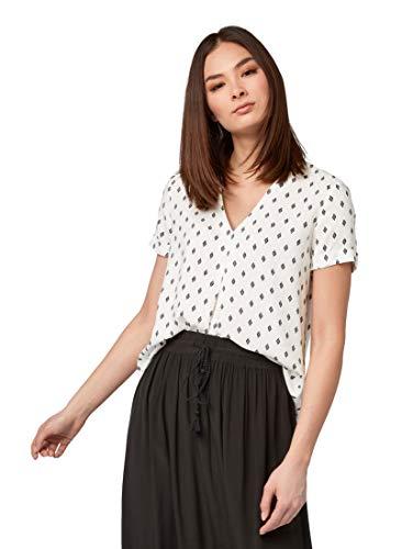 TOM TAILOR für Frauen Blusen, Shirts & Hemden Bluse mit Kellerfalte Offwhite Diamond Design, 46