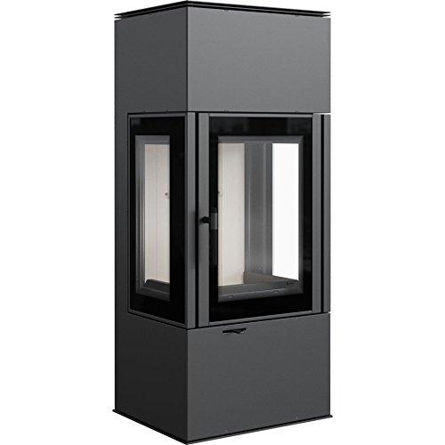 KRATKI Stahlofen Thor View | 8 kW | RRØ 150 mm | Holzofen 122,4 x 52,1 x 43,8 cm | mit Verglasung | BImSchV Stufe 2, 15a B-VG | 140 kg | Kaminofen ideal für normales Zuhause & mit Rekuperation-System