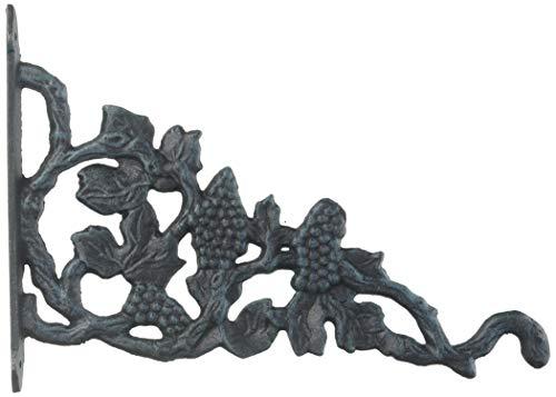 Bascule de vigne Cintre décoratif panier de fleurs Crochet Vert-de-gris en fonte 30,5 cm de profondeur
