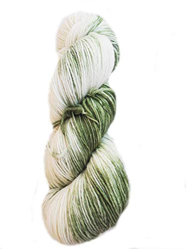 Sockenwolle handgefärbt 6fädig 150 g ca 420 m 75% Wolle/25% Polyamid - racing green, natur