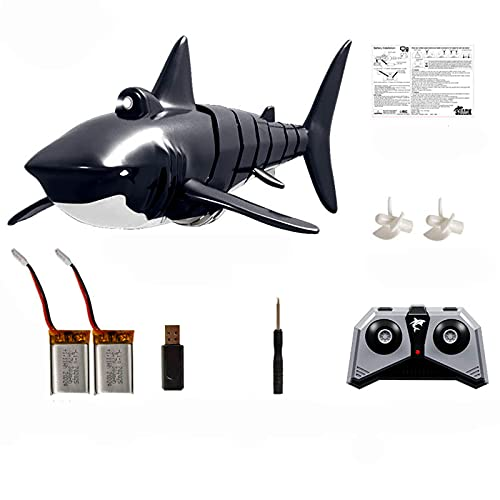Pool Toys 2.4G Remote Control Shark Toy High Simulation Shark Shark for Swimming Pool Bathroom Great Gift RC Boat Toys Shark Swimming Pool Toy for Pool,Pond,Garden (Double Electric Version)