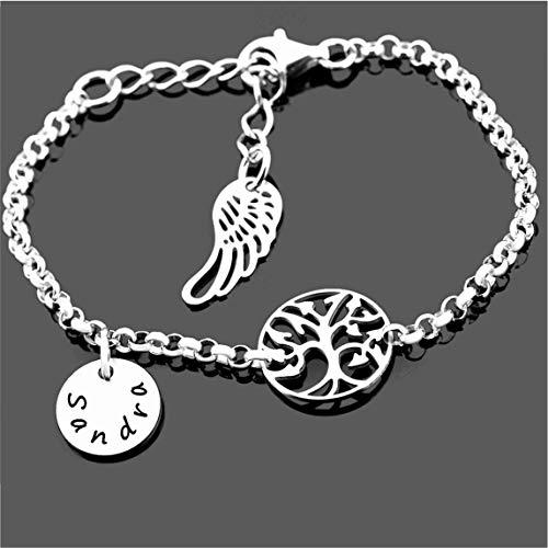 Namensarmband 925 Silber für Damen Bettelarmband mit Namen * Geschenk zur Geburt Mutter * Silberarmband Erbsenkette mit Gravur und Lebensbaum zartes Armkettchen Flügel