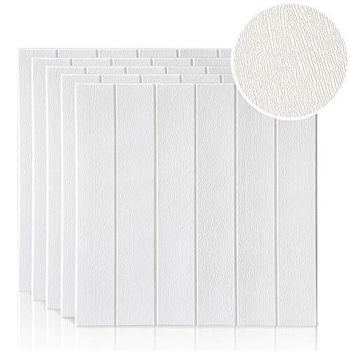 Papel tapiz de ladrillo 3D, repique extraíble y pegatina de pared de espuma PE para sala de estar 0.49m2/pcs (5 piezas de madera blanca)