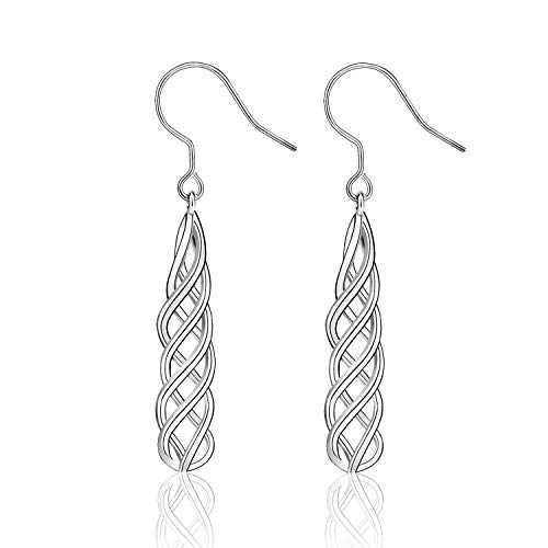 Celtics Earrings Sterling Silver Irish Vintage Celtic Knot Dangle Earrings Good Luck Celtics Three-dimensional Spiral Earrings Jewelry Valentine's Day Birthday Mothers Day Gifts for Women Teens (Silver)