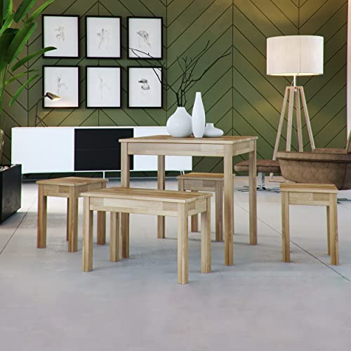 Table à Manger en chêne Tomas en Bois Massif (75 x 75 x 75 cm)