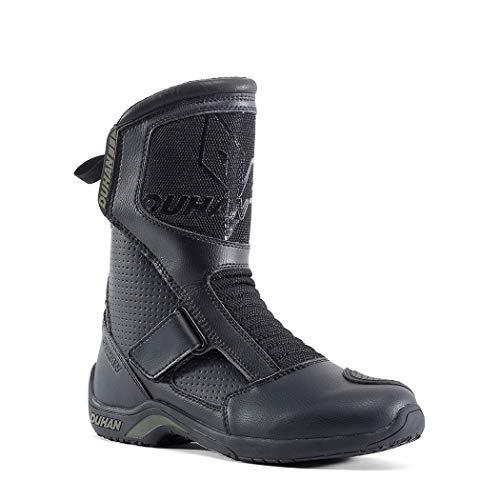 AzLLY motorlaarzen voor heren, zwaar, punk, goth-stijl, zwart, laarzen met veters, PU-leer, waterdicht voor alle seizoenen