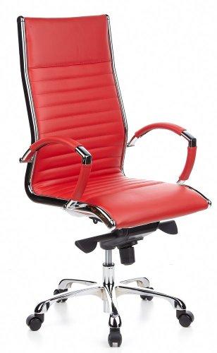 hjh OFFICE 660530 Profi Chefsessel Parma 20 Leder Rot/Chrom Bürostuhl ergonomisch, hohe Rückenlehne