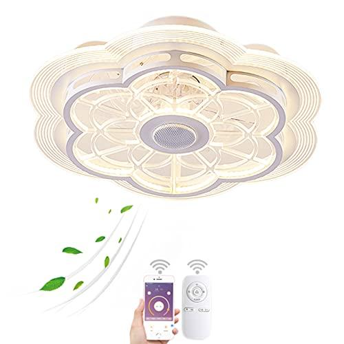 VOMI LED Regulable Lámpara de Techo con Mando a Distancia, 80W Inteligente Lámpara de Ventilador Silencioso Moderno Iluminación con Bluetooth Altavoz, 3 Velocidades de Viento Ajustables para Salón