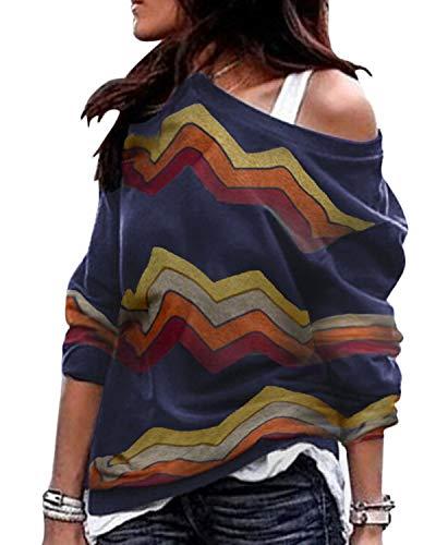 YOINS Camiseta Mujer de Manga Larga Blusa con Hombros Fríos Camisa Casual Camisetas a Rayas Cuello Redondo Imprimiendo Pullover A-Armada S