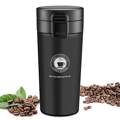 JEEZAO Tazza Termica Viaggio caffè Thermos Bottiglia Acqua, Borraccia Acciaio Inox,Senza BPA,380ml