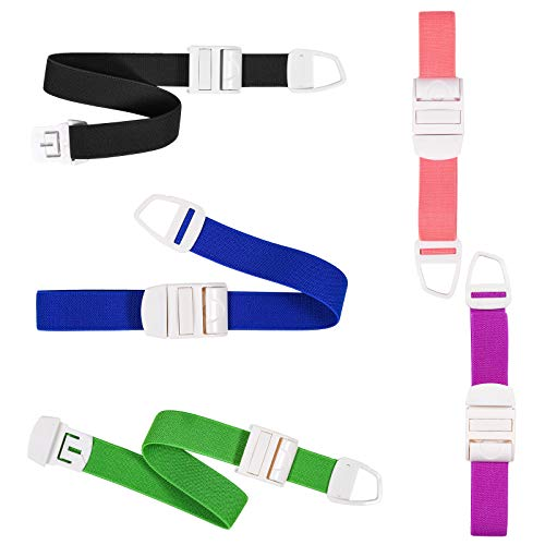 5 Pack Tourniquets for Blood Drawing, Adjustable Tourniquets Medical Emergency First Aid Quick Release Outdoor Elastic Strap Buckle Band