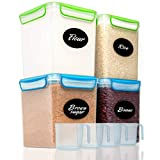 4 Large Airtight Food Storage Containers for Flour, Sugar 142 ounces - Kitchen Pantry Plastic...