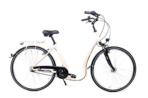 28 Zoll Alu Fahrrad City Bike Damen 7 Gang Nabenschaltung Tiefeinsteiger Beige