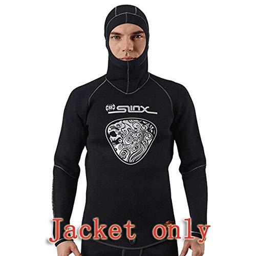 Traje de neopreno 5MM neopreno capucha Trajes for hombres buceo con equipo de buceo pesca submarina invierno caliente mojado nadada Traje anti-UV Trajes de baño ( Color : Jacket only , Size : XXL )