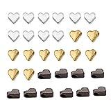 30 Piezas Abalorios Espaciadores,3 Colores Cuentas de Metal Corazón,Mixtos Abalorios, para Pulseras Collares,Joyería Bisutería,Pulsera Manualidades